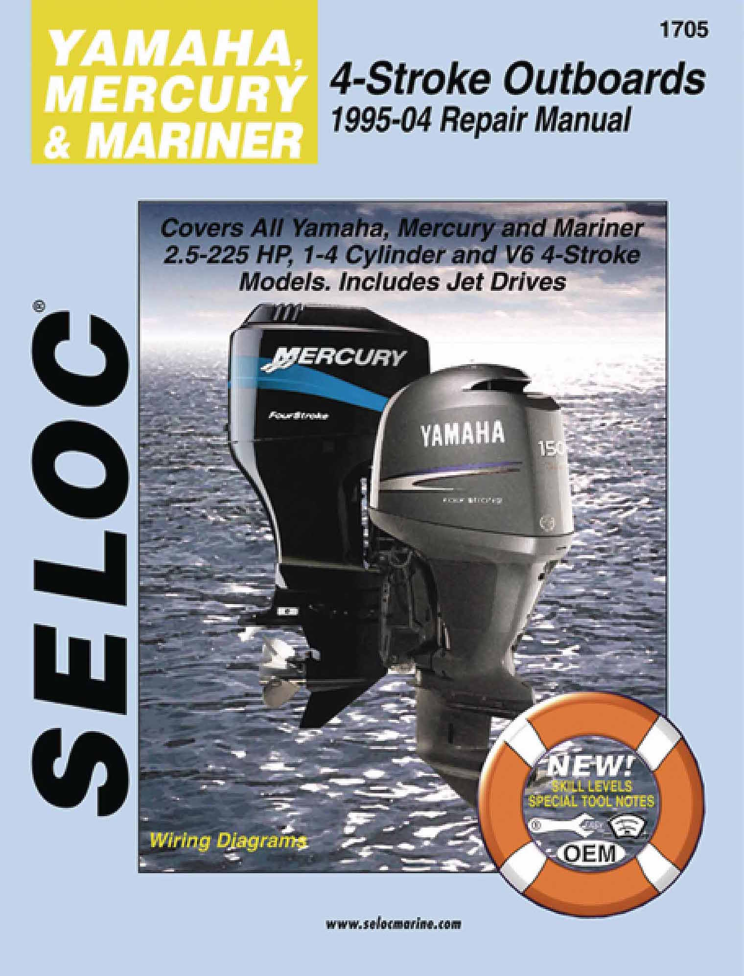 Seloc Marine Repair Manual 1705 Yamaha Mercury Mariner 25 225 Outboard Spark Plug Wiring Diagram Hp Outboards 1995 2004
