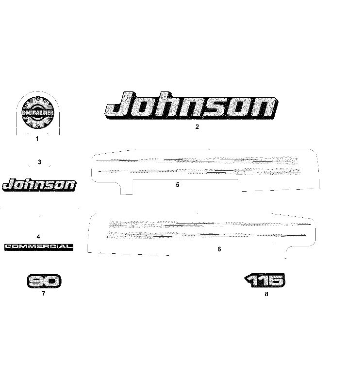 Johnson Decals Graphite Models Parts For 2003 115hp